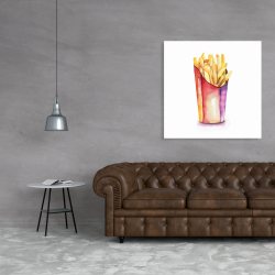 Canvas 36 x 36 - Watercolor french fries