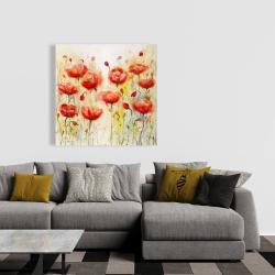 Canvas 36 x 36 - Red flowers garden