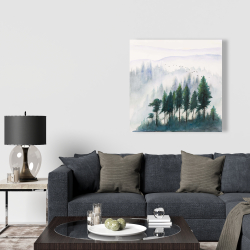 Canvas 36 x 36 - Mountains landscape in watercolor