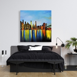 Canvas 36 x 36 - City by night with a bridge