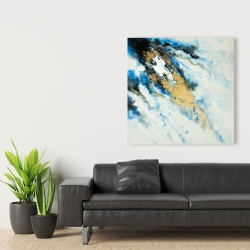 Canvas 36 x 36 - Blue and gold marble