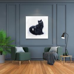 Canvas 36 x 36 - Furry black watercolor cat