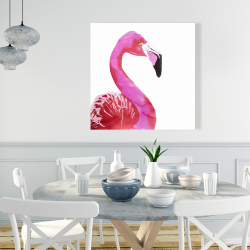 Canvas 36 x 36 - Watercolor proud flamingo profile