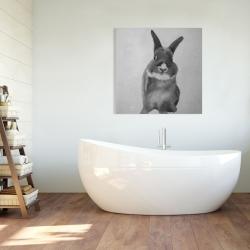 Canvas 36 x 36 - Funny gray rabbit