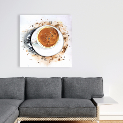 Canvas 36 x 36 - Overhead view of a cappuccino cup