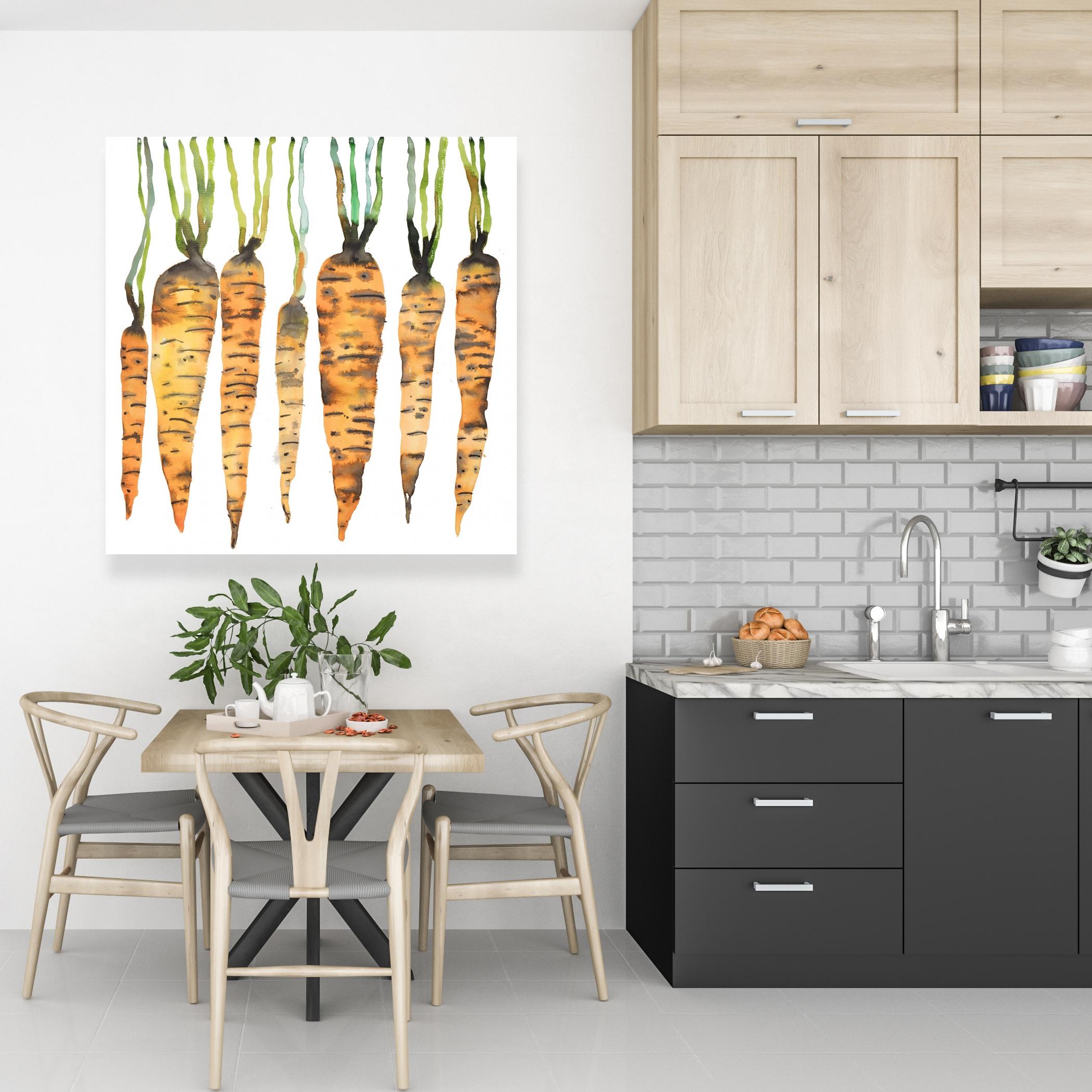 Canvas 36 x 36 - Watercolor carrots