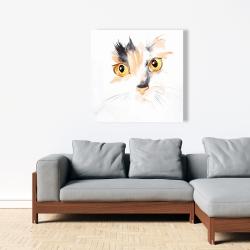 Canvas 36 x 36 - Watercolor cat face closeup