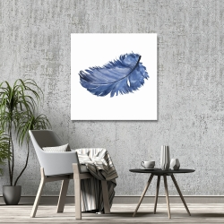 Canvas 36 x 36 - Watercolor blue feather