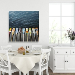 Canvas 36 x 36 - Colorful paddles on the dock