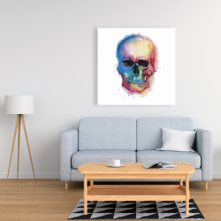 Canvas 36 x 36 - Watercolor colorful skull