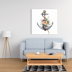 Canvas 36 x 36 - Boat anchor with flowers