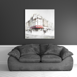 Canvas 36 x 36 - White street with red accents