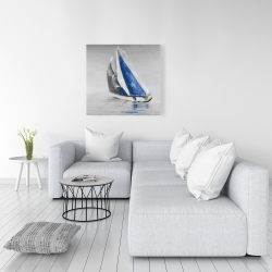 Canvas 36 x 36 - Gray and blue boat sailing