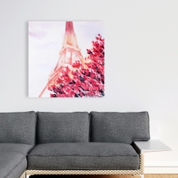 Canvas 36 x 36 - Pink eiffel tower