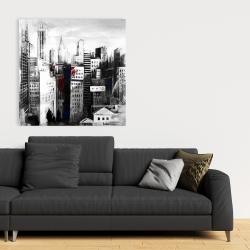Canvas 36 x 36 - White city with paint splash