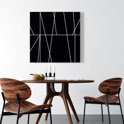 Canvas 36 x 36 - White stripes on black background