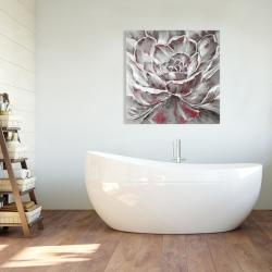 Toile 36 x 36 - Fleur rouge et grise