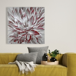 Canvas 36 x 36 - Red and gray flower
