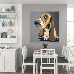 Canvas 36 x 36 - Gold basset hound dog
