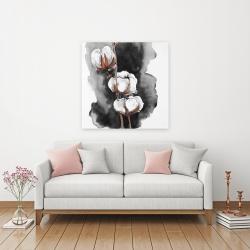 Canvas 36 x 36 - Watercolor cotton flowers