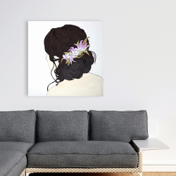 Canvas 36 x 36 - Woman from behind with pink flowers