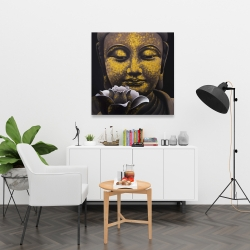 Canvas 36 x 36 - The eternal smile of buddha and his lotus