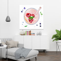 Canvas 36 x 36 - Strawberry & raspberry smoothie