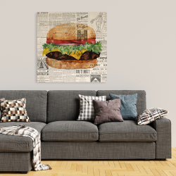 Canvas 36 x 36 - Vintage style all dressed cheeseburger