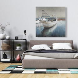 Canvas 36 x 36 - Fishing boat desatured