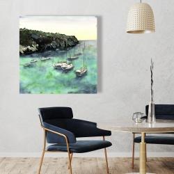 Canvas 36 x 36 - Boats in cala macarella