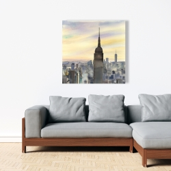 Canvas 36 x 36 - Sunset over new york city
