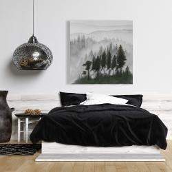 Canvas 36 x 36 - Mountains landscape in dark watercolor