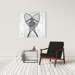 Canvas 36 x 36 - Vintage monochrome wood snowshoes