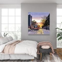 Toile 36 x 36 - Coucher de soleil une rue torontoise