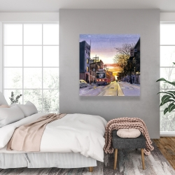 Canvas 36 x 36 - Sunset streetscape to toronto