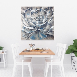 Canvas 36 x 36 - Gray and blue flower