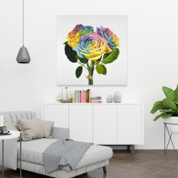 Canvas 36 x 36 - Bouquet of rainbow roses