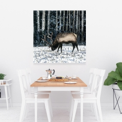 Canvas 36 x 36 - Caribou in the winter forest
