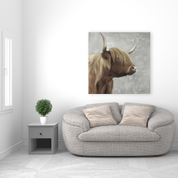 Canvas 36 x 36 - Beautiful desaturated higland cattle