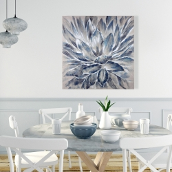 Canvas 36 x 36 - Blue and gray flower