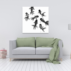 Canvas 36 x 36 - Small black fishes