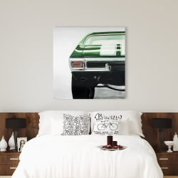 Canvas 36 x 36 - Classic dark green car