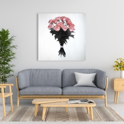 Canvas 36 x 36 - Bouquet of coral roses