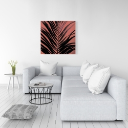 Canvas 36 x 36 - Coral tropical palm leave