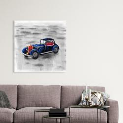 Canvas 36 x 36 - Vintage blue toy car