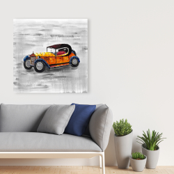 Canvas 36 x 36 - Yellow vintage car toy