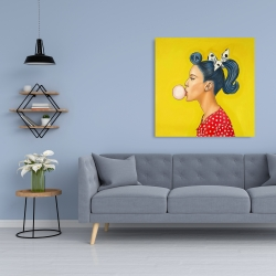 Canvas 36 x 36 - Retro woman with beautiful ponytail