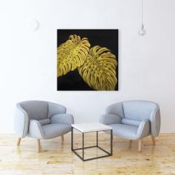 Toile 36 x 36 - Feuille monstera doré