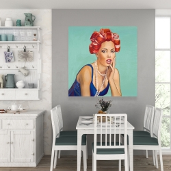 Canvas 36 x 36 - Pin up girl with curlers