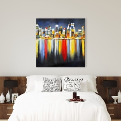 Canvas 36 x 36 - Colorful reflection of a cityscape by night